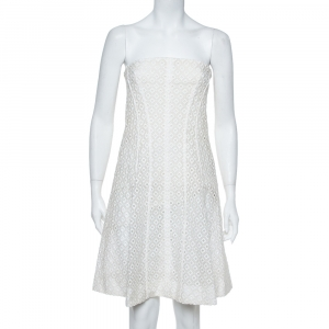 Stella McCartney White Embroidered Lace Strapless Mini Dress M - used