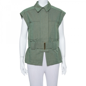 Stella McCartney Green Canvas Belted Vest M