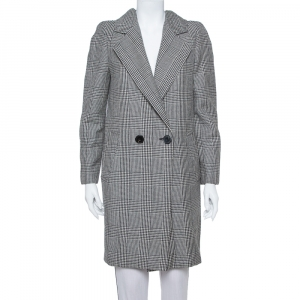 Stella McCartney Monochrome Wool Hounds Tooth Pattern Coat M - used