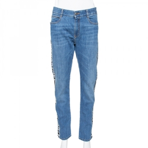 Stella McCartney Blue Denim Logo Tape Detail Straight Leg Jeans M