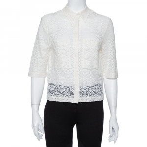 Stella McCartney Cream Lace Button Front Sheer Crop Top M - used