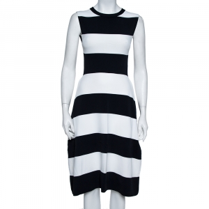 Stella McCartney Navy Blue & White Striped Knit Structured Midi Dress M - used