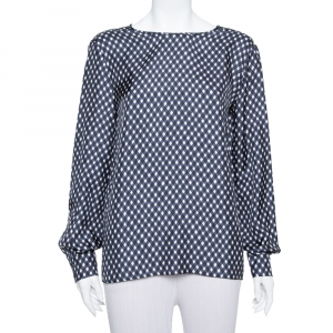 Stella McCartney Navy Blue Check Patterned Silk Oversized Top S - used