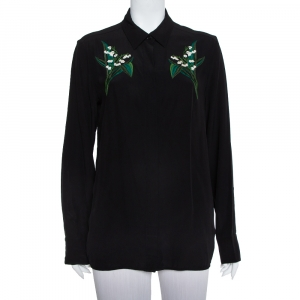 Stella McCartney Black Silk Embroidery Detail Button Front Shirt M - used