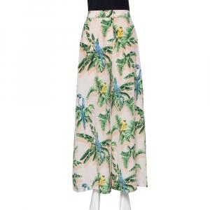Stella McCartney Pastel Pink Printed Silk Palazzo Trousers S
