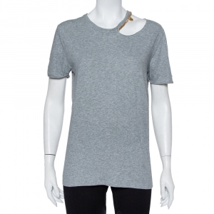 Stella McCartney Grey Cotton Chain Trim Cutout Shoulder Detail Crewneck T-Shirt M