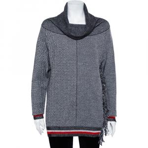 Stella McCartney Monochrome Zig-Zag Patterned Wool & Silk Cowl Neck Sweater XS - used