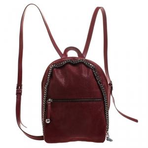 Stella McCartney Burgundy Faux Leather Falabella Backpack - used