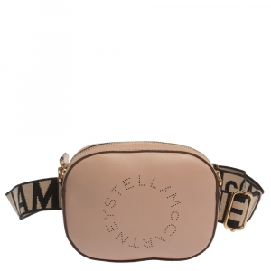 Stella McCartney Beige Perforated Faux Leather Vegetarian Belt Bag