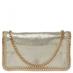 Stella McCartney Metallic Gold Faux Leather Falabella Crossbody Bag