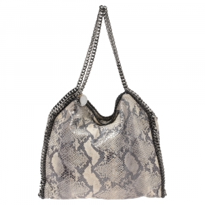 Stella McCartney Grey/White Python Embossed Faux Leather Large Falabella Tote