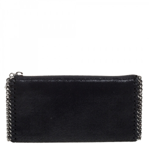 Stella McCartney Black Faux Leather Falabella Zip Wallet - used