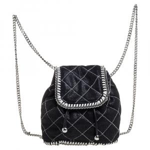 Stella McCartney Black Faux Leather Mini Falabella Backpack - used