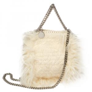 Stella McCartney Cream Faux Fur Tiny Falabella Crossbody Bag