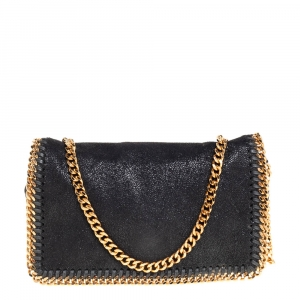 Stella McCartney Black Faux Leather Falabella Clutch