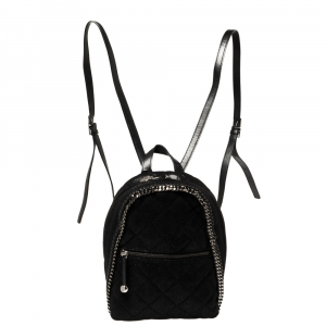Stella McCartney Black Faux Leather Falabella Backpack