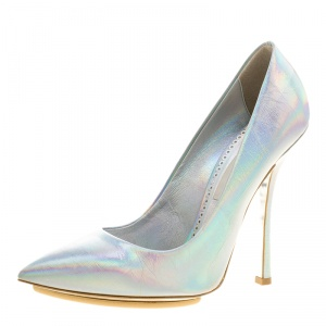 Stella McCartney Metallic Silver Holographic Faux Leather Pointed Toe Pumps Size 39 - used