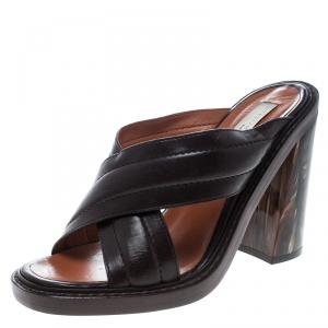 Stella McCartney Brown Quilted Faux Leather Veneer Criss Cross Block Heel Mules Size 39 - used