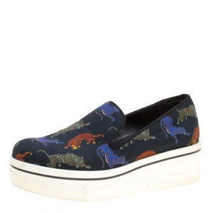Stella McCartney Black Multicolor Animal Print Canvas Platform Slip On Sneakers Size 37 - used