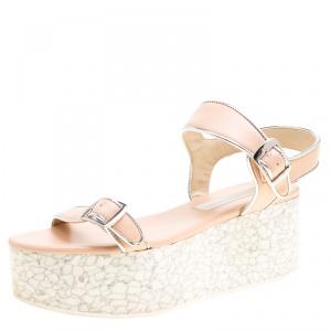Stella McCartney Beige/Silver Faux Leather Geena Marble Platform Sandals Size 38 - used
