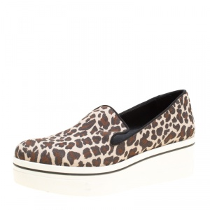 Stella McCartney Multicolor Leopard Print Canvas Platform Slip On Sneakers Size 38 - used