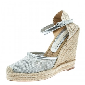 Stella McCartney Metallic Silver Fabric and Faux Leather Espadrille Wedge Sandals Size 36 - used