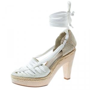 Stella McCartney White Canvas Espadrille Trim Tie Up Block Heel Sandals Size 38 - used