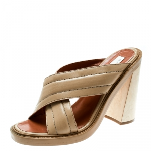 Stella McCartney Beige Faux Leather Veneer CrissCross Slides 39 - used