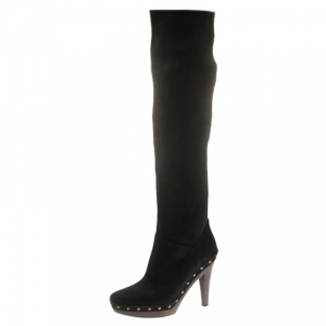 Stella McCartney Black Faux Suede Korda Studded Knee Length Boots Size 37 - used