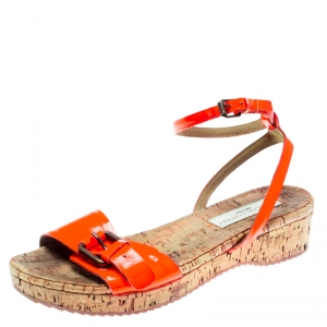 Stella McCartney Neon Orange Faux Leather Linda Ankle Strap Flat Sandals Size 35 - used