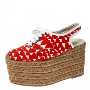 Stella McCartney Orange Canvas Wedge Slingback Platform Espadrille Sandals Size 36 - used