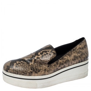 Stella McCartney Beige Faux Python Platform Slip On Sneakers Size 39 - used