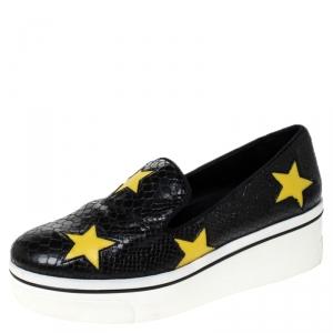 Stella McCartney Python Embossed Faux Leather Binx Star Platform Slip On Sneakers Size 39 - used