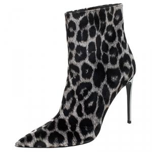 Stella McCartney Beige/Black Leopard Print Velvet Ankle Boots Size 40 - used