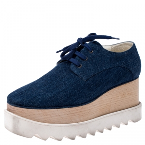 Stella McCartney Blue Denim Fabric Elyse Platform Derby Size 36.5 - used