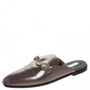 Stella McCartney Dark Beige Faux Leather Chain Slide Mules Size 38 - used