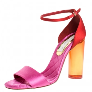 Stella McCartney Red/Pink Satin Lucite Block Heel Ankle Strap Sandals Size 38.5 - used