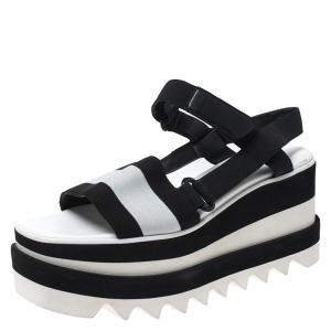 Stella McCartney Black/White Fabric Sneak Elyse Platform Sandals Size 35.5 - used