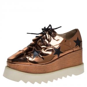 Stella McCartney Metallic Bronze Faux Patent Leather Elyse Star Platform Sneakers Size 37 - used