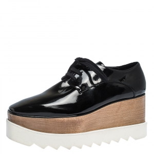 Stella McCartney Black Faux Patent Leather Elyse Platform Derby Size 37.5 - used