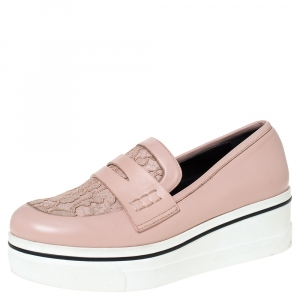 Stella McCartney Pink Faux Leather And Lace Penny Platform Loafers Size 38 - used