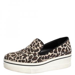 Stella McCartney Multicolor Leopard Print Canvas Platform Slip On Sneakers Size 40 - used
