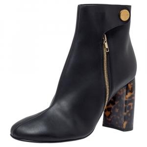 Stella McCartney Black Faux Leather Block Heel Ankle Booties Size 41 - used