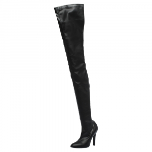 Stella McCartney Black Faux Leather Over the Knee Boots Size 38 - used