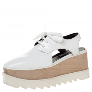 Stella McCartney White Faux Leather Elyse Cut Out Platform Sneakers Size 38.5 - used