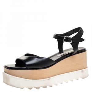 Stella McCartney Black Faux Leather Creeper Platform Ankle Strap Sandals Size 39 - used