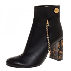 "Stella McCartney Black Faux Leather Tortoise Block Heel ""Percy"" Ankle Booties Size 37.5"