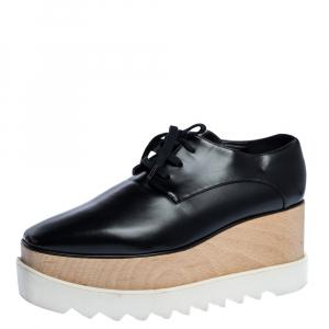 Stella McCartney Black Faux Leather Elyse Platform Derby Sneakers Size 38.5 - used