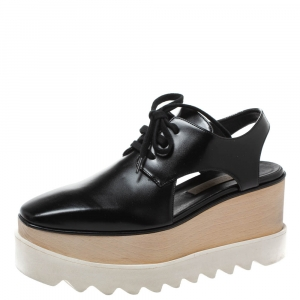 Stella McCartney Black Faux Leather Elyse Cutout Platform Derby Size 35.5 - used