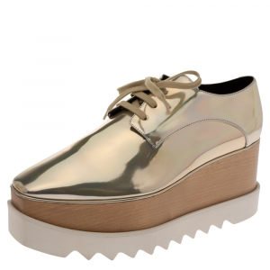 Stella McCartney Metallic Gold Faux Leather Elyse Platform Derby Sneakers Size 40.5 - used